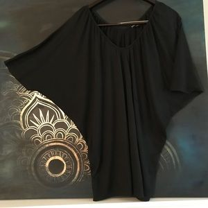 Express Black Batwing Short Sleeve Top Sz Med